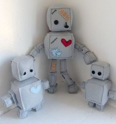 Plush Robot Family by juliebell on Etsy