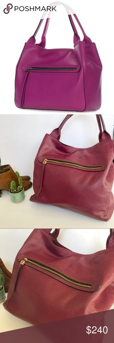 """Gianni Chiarini Cranberry Pink Large Tote Bag Beyond gorgeous Gianni Chiarini tote/shoulder bag. In the most beautiful cranberry color. In excellent condition. Such a perfect bag for fall and winter because of the color! """"Height 12"""" (30.5cm), Width 14"""" (35.5cm), Depth 6"""" (15.3cm) Pouch 7.5x5"""" (19x12.7cm) Handle drop 7.5"""" (19cm). Genuine pebbled leather One large interior zip and two multifunctional slip pockets. Front and back wall exterior zip pockets. Expandable sides with snap closure…"""