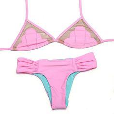 Sexy Mesh Swimsuit Sweet Shell Printed Bikini patchwork Beach Swimwear Low Waist Strappy Reversible Swimsuit