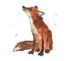 Watercolour FOX Print Fox SMALL 5x7 print by eastwitching on Etsy, $10.00