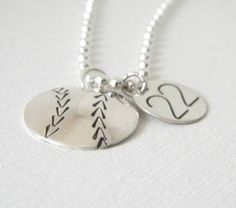 Baseball Necklace Sterling Silver softball by EverythingInitials