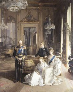 King George V, Queen Mary, the Prince of Wales and the Princess Royal, portrait by Sir John Lavery