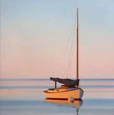 Jim Holland - Present), American Artist - Sunrise with Catboat - 36 x 36 Edward Hopper, Jack Vettriano, Liveaboard Boats, Runabout Boat, Boat Decor, Electric Boat, Boat Painting, Magic Realism, Soul Art