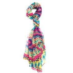 Tribal Scarf Pink Blue Yellow