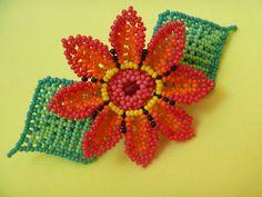 HUICHOL HAIRPINS FLOWER MULTICOLOR MEXICO FOLK ART BEADS HANDMADE | eBay Beaded Earrings, Beaded Jewelry, Crochet Earrings, Handmade Jewelry, Beaded Bracelets, Necklaces, Mexican Designs, Native American Beadwork, Collars