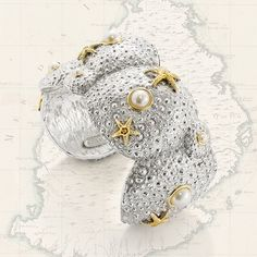 The Patrick Mavros Grande Sea Urchin Cuff represents a family cluster of sea urchins and starfish. Cape Dutch, Bangle Bracelets, Bangles, Sea Urchins, Seashell Jewelry, Starfish, Cool Gifts, Lust, Cuffs