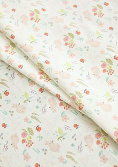 Pastel Rabbits Printed Cotton  by the yard width 44 inches