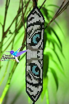 Pulsera ojos de tigre blanco -pulsera tigre bengala- bracelet Tiger-Artesania Mexicana-Joyeria Mexicana-Chaquira Artesanal de ChaquiraArtesanal en Etsy