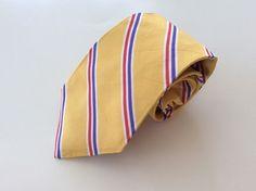 Rhanauer Neck Tie Yellow Purple Red White Striped 100% Silk #Rhanauer #NeckTie