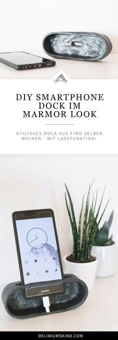 Marble DIY Smartphone Dock mit Ladefunktion: Stylishe Docking Station für dein Handy aus Fimo selber basteln