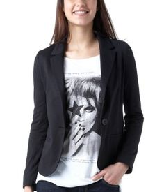 Jacket in jersey fabric black - Promod