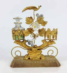 19th Century Palais Royal Gilt Ormolu Scent Bottle Holder- Antique French Snuff