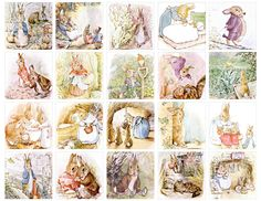 digital download of two inch by two inch images of Peter Rabbit and Benjamin Bunny...$3.50