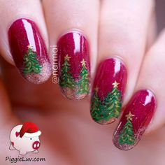 Time for something fun! With everybody posting their Christmas trees EVERYWHERE, I thought I'd give into the cliche and show you mine. The gorgeous deep red base polish is Gothic Gala Lacquers Vallis Sanguine, it's one of my favorites and absolutely perfect for the season!! Christmas nail art, Continuous design.