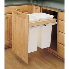 """$172.32 50 Quart Plastic Pull Out Trash Can    Designed for 1-1/2"""" face frame application  Absolute sturdiness with front-side mounting, rear adjustable brackets and full-extension ball-bearing slides  Patented door mount kit included to fit almost any door style  Optional lids available  Limited lifetime warranty"""