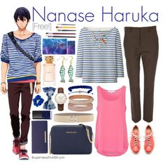 Nanase Haruka [Free!] by ibuperisesat on Polyvore featuring Uniqlo, French…