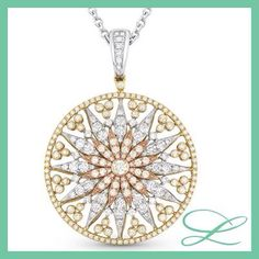 Diamonds are a girls best friend ! Tricolored antique pendant !!!