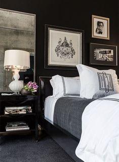 Bedroom Black, Black White Bedrooms, Black Bedroom Design, Master Bedroom, Grey Bedrooms, Bedroom Mirrors, Bedroom Wall, Masculine Bedrooms, Bedroom Chandeliers
