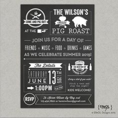 Pig Roast Party Invitation birthday house by YellowLilyDesigns | i ...