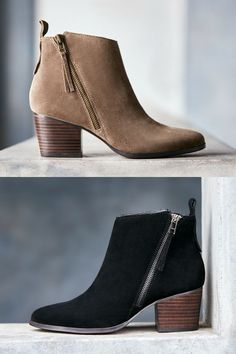 Taupe and black suede ankle booties with asymmetrical zippers | Sole Society Mira