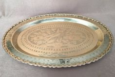 Large Brass Tray Etched Peacock Oval Shaped. Raised by DotnBettys