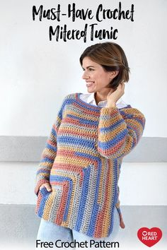 Must-Have Crochet Minted Tunic free crochet pattern in Dreamy Stripes yarn. Must-Have Crochet Minted Tunic free crochet pattern in Dreamy Stripes yarn. Keep warm while showing off your crochet ski. Crochet Jumper, Free Crochet, Knit Crochet, Crochet Sweaters, Crochet Stitches Patterns, Crochet Woman, Crochet Fashion, Look Chic, Crochet Clothes