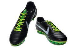 Chaussures de foot nike Tiempo Legend IV Elite FG Noir Blanc Vert pas cher