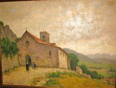 Eglise de Séguret   toile de Gaston Prost 1950
