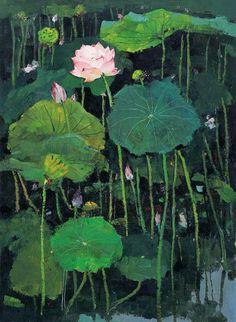 Wu guanzhong(吴冠中) painting red lotus(红莲) via xinjingrushui.com