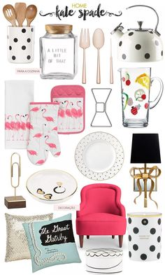 Kate Spade home decoration.  Plates, bowtie paper clips, polka dot tea kettle, gold spoon and forks. Sparkly pillow and flamingos.