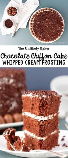 Chocolate chiffon cake with whipped cream frosting - chocolatey chiffon cake that's as light as air frosted with whipped vanilla cream that's equally light and fluffy! #choctoberfest #recipe #chocolate #chocolatecake #baking #dessert