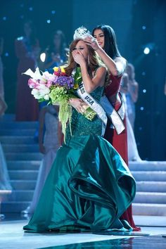 """Alyssa Campanella was all smiles and tears upon being crowned.  Photo: Miss Universe Organization With the Miss Universe pageant this Sunday, we're going to be glued to our TVs taking in all of the excitement.  Related:#TBT The First Miss Universe Pageant On Hair & Makeup: Alyssa Campanella, Miss USA 2011 """"At Miss Universe 2011, Miss Venezuela always had perfect curls everyday.  My face couldn't even hit the pillow! I gave up and just stuck to using a curling iron every morning."""" Kamie ..."""