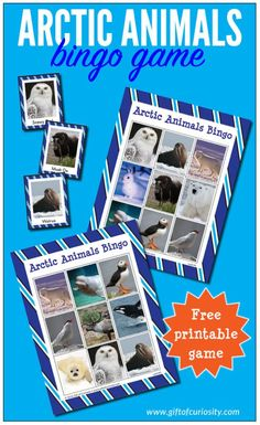 Arctic Animals Bingo Game #fhdhomeschoolers  #freehomeschooldeals  #arcticanimals #bingogame