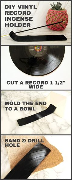 Recycle a Vinyl Record into a unique DIY Incense Holder with this easy step by step tutorial. This homemade hippie decor is the coolest incense burner that your friends will love. Records Diy, Old Vinyl Records, Vinyl Record Projects, Diy Incense Holder, Diy For Men, Diy Home Decor Projects, Crafty Projects, Music Gifts, Homemade