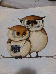 Couple Owl Painting.. $120.00, via Etsy.