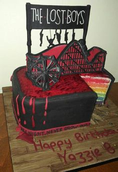 My awesome surprise Lost Boys birthday cake, made by charlie at Baked & Iced in March 2014. Even got me a tweet from Corey Feldman about my cake.