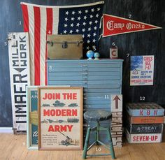 Vintage Americana!  And we have a winner for Ian's big boy room!