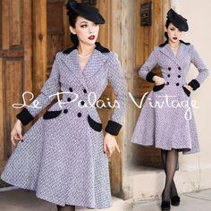 Le-Palais-Vintage-Elegant-Slim-Herringbone-Jersey-Long-Coat-Designed-by-Winny