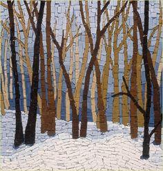 Creación de un paisaje a través de un mosaico con piezas pintadas de distintos colores