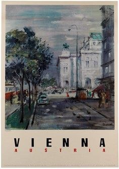 Vintage Travel - This Vintage Vienna Austria travel poster was printed by Brüder Rosenbaum in Austria, c. Poland Travel, Austria Travel, Tourism Poster, Travel And Tourism, Travel Tips, Travel Hacks, Travel Goals, Travel Ideas, Travel Themes