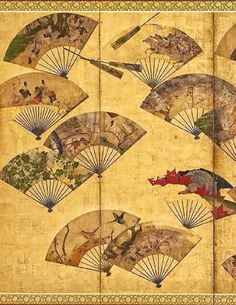 Painted Fans Mounted on a Screen by Tawaraya Sotatsu Visitar página Ver imagem Japanese Quilt Patterns, Japanese Quilts, Freer Gallery, Painted Fan, Japanese Screen, Edo Period, Japan Art, Woodblock Print, Oriental