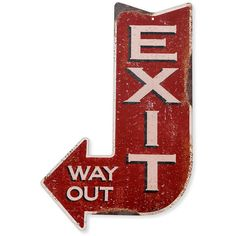 Handcrafted Vintage Exit Arrow Steel Sign (pss00002) ($36) ❤ liked on Polyvore featuring home, home decor, wall art, home & living, home décor, silver, steel wall art, vintage wall art, steelers sign and vintage signs