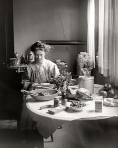 """Circa 1910. Mixing up a big batch of """"Salmonella Surprise."""" Scanned from the original 4x5 inch glass negative."""