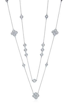 """Infinity diamond necklace and 32"""" diamond by the yard necklace."""