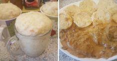 Hrníčkové knedlíky má je hotové za pár minut, protože zná tento recept. Jiné už nedělá, chutnají báječně - Dumplings, Camembert Cheese, Mashed Potatoes, Peanut Butter, Oatmeal, Snack Recipes, Chips, Pudding, Bread