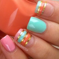 Pink, teal and orange nails. What fun spring nails! Get Nails, Fancy Nails, Love Nails, Trendy Nails, How To Do Nails, Fabulous Nails, Gorgeous Nails, Orange Nails, Orange Pink