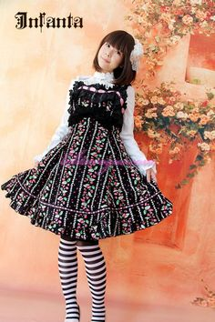 Black Sweet Bows Lace Lolita Jumper [CH-1206-0301] - $162.99 : LolitaVogue, Vogue Lolita Dress,Fashion Lolita Dress.