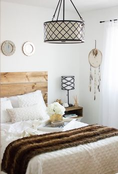 White Bedroom with DIY Nighstands