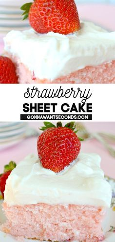 *NEW* This strawberry sheet cake with lemon cream cheese frosting recipe is so simple but delivers phenomenal results! I love cake recipes that use standard pantry ingredients as this sheet cake recipe does. #Strawberries #Strawberry #SheetCake #StrawberryCake #CakeRecipes #Desserts #CreamCheeseFrosting #SpringDesserts #SummerDesserts #Easter #KidFriendly Sheet Cake Recipes, Frosting Recipes, Love Cake Recipe, Strawberry Sheet Cakes, Lemon Cream Cheese Frosting, Spring Desserts, Amazing Cakes, Pantry, Yummy Food