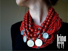 Ukrainian namysto (modern version of a traditional style necklace of metal and coral or glass imitating coral) - by Irina Haluschak http://irina-haluschak.blogspot.com/